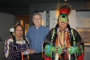 Terry Daniels, Elder Traditional Artist, Spiritual and Culture Teacher Kirby Poucette, Youth Traditional Culture and Skills Youth representative with CEO Norman Seligman