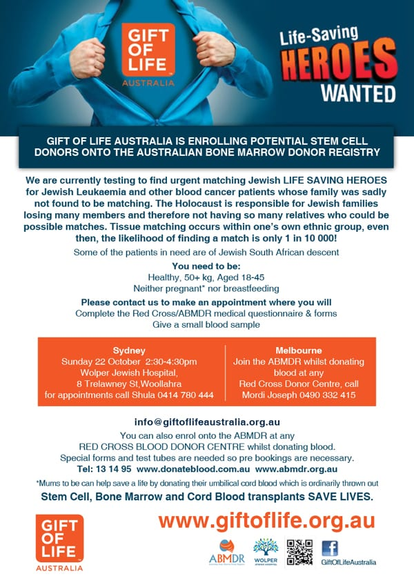 Oct-22 Sydney: Gift of Life enrolling potential stem donors » J-Wire