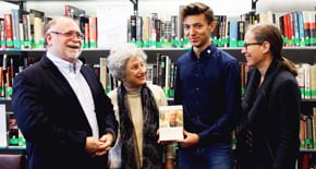 Intern presents special book to the Jewish Holocaust Centre