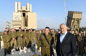 Israel's PM Netanyahu holds security tour of a missile intercept control centre and an iron dome battery