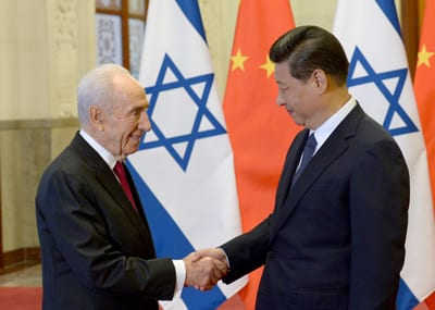 Shimon Peres with China leader Xi Jinping