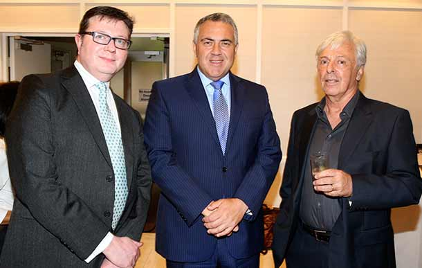 AJN Group General Manager Rod Kenning, Federal Treasurer Joe Hockey and AJN publisher Robert Magid     Photo: Noel Kessel