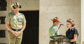 AMbassador Andrea Faulkner addresses Anzac Day commemoration  photo: Amit Turkenwitz