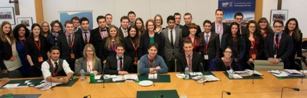 Prime Minister Julia Gillard [in black and green] with AUJS students