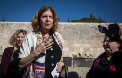 Anat Hoffman, leader of the Women of the Wall group, speaks with members of the media near the Western Wall on Jan. 31, reacting to the Israeli government's passage of a new plan on egalitarian prayer rights at the Jewish holy site. Credit: Hadas Parush/Flash90.