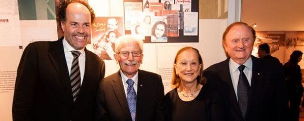 Ronald Leopold, director Anne Frank Foundation in Amsterdam, Boyd Klap, Chairman, Anne Frank Exhibition Australia, Pauline Gandel and John Gandel.  Photo: Simon Shiff