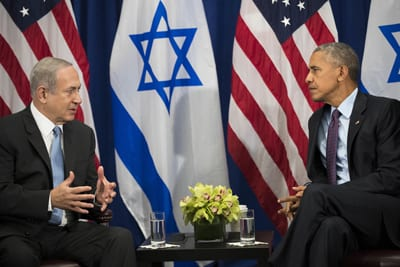 Israeli Prime Minister Benjamin Netanyahu speaks with U.S. President Barack Obama during a bilateral meeting at the Lotte New York Palace Hotel on Sept. 21 in New York City. Credit: Drew Angerer/Getty Images.
