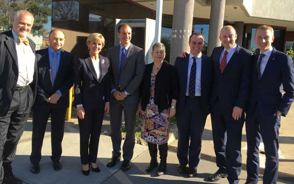 Sam Tatarka - Beth Weizmann, Jeff Morrison - Zionism Victoria, Julie Bishop, Minister for Foreign Affairs,David Southwick - Member for Caulfield, Jennifer Huppert - President JCCV, Tim Wilson - Liberal candidate for Goldstein, Owen Guest - Liberal candidate for Melbourne Ports, Senator James Paterson