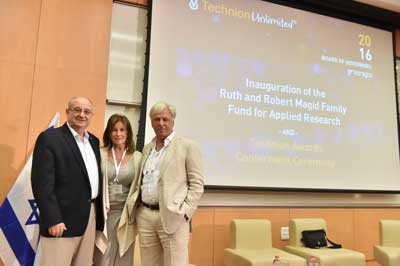 Bib and Ruth Magid with  The Technion's president Professor Peretz Lavie    Photo: Nitzan Zohar, Technion Spokesperson's Office