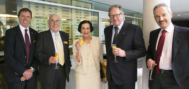 CEO Robert Orie, Max Kahn, Dame Marie Bashir, president David Freeman and treasurer Tom Mautner