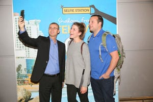 Tourism Minister with new arrivals at Ben Gurion   Photo: Chen Galili