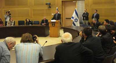 Yuli Edelstein, Knesset Speaker addressing the media.