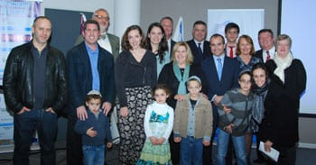 The Parliamentary delegation with representatives of the ZCV and Aliyah department, and new olim about to head to Israel.