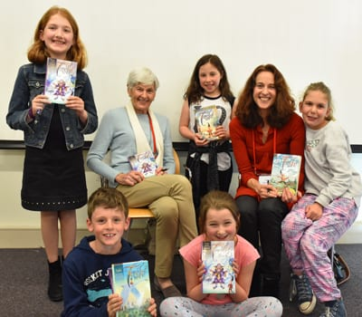 Tashi authors Barbara and Anna Fienberg with kids
