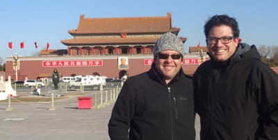 Gary Velleman, Vice Principal and Head of Senior School and Dan Sztrajt, Director of Informal Jewish Studies at Bialik College  in China researching the new program.