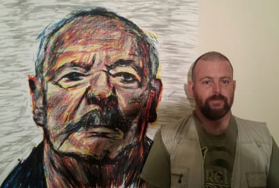 Thomas Delohery with his portrait of author and Holocaust Survivor Henri Korn Finalist Black Swan Portrait Prize 2016
