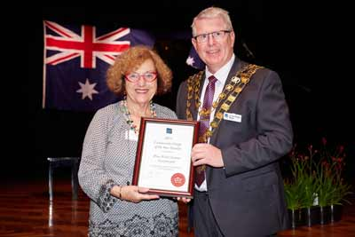 "B'nai B'rith Victoria President Faye Dubrowin with the Glen Eira Mayor Cr. Jim Magee  presenting B'nai B'rith with the Glen Eira Community Group of the Year Finalist Award (Runner Up)  ""…in recognition of your contributions to the community."""