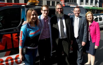 Mission beat worker about to set off in search of homeless dogs with Sam Kovak, Rabbi Mendel Kastel,Bruce Notley-Smith and Gabrielle Upton