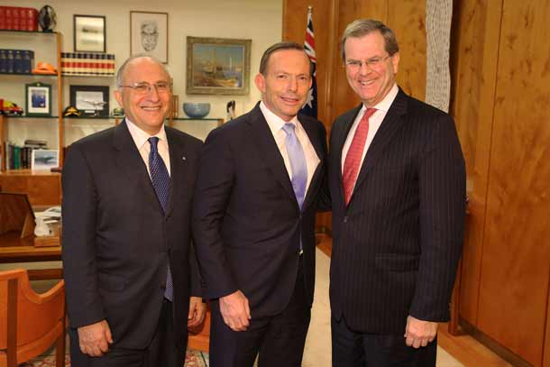 Dr Colin Rubenstein, Prime Minister Tony Abbott and David Harris
