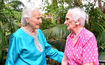 Eva and Ibi remember the past.... Photo: Henry Benjamin