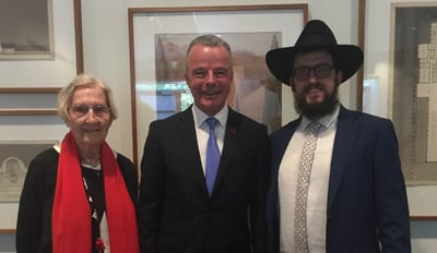 Margaret Beadman, Brendan Nelson and Rabbi Shmueli Feldman