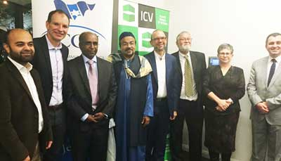 Interfaith group including David Southwick, Member for Caulfield, Mohamed Mohideen, ICV Vice President, Rabbi Ralph Genende, President JCMA, Ian Smith, Executive Director VCC, Jennifer Huppert, President JCCV and Bayram Aktepe, President ICV