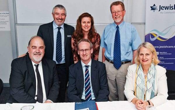 Back row from left: Mike Debinski, Kate Weiss, Brian Woodford OAM Front row from left: David Bowen, James O'Brien, Andrea Coote MP