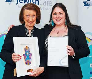 Volunteer of the Year award recipient Anne Korman with Sharon Malecki, Volunteer Resource Program Manager at the 2014 Jewish Care Staff and Volunteer Service and Excellence Awards.