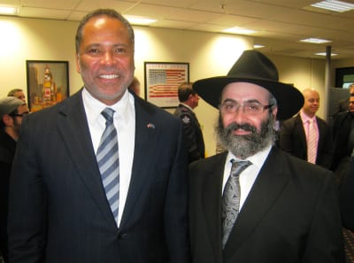 NYC Fire Chief Jay Jonas with Rabbi Klugwant