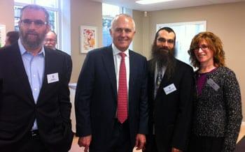 KTC President Meir Moss, Malcolm Turnbull, Rabbi Dr Noteh Glogauer, KTC Vice-President Ilana Kaplan