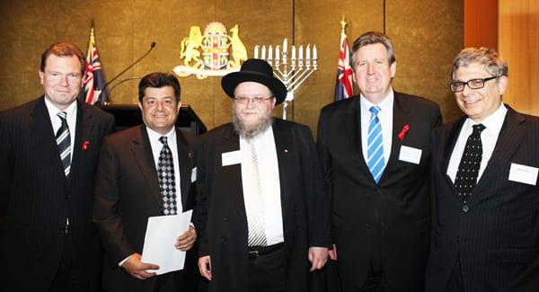 Premier Nathan Rees, Speaker Richard Torbay, Rabbi Pinchus Feldman, Oppositon Leader Barry O'Farrell, NSWJBD President Robin Margo