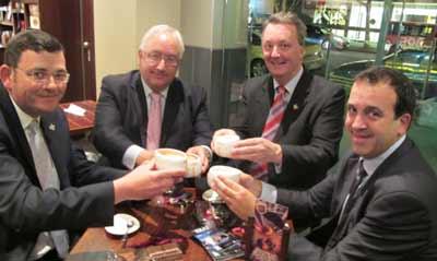 (L-R): Premier Daniel Andrews, Melbourne Ports MP Michael Danby, Albert Park member Martin Foley & the new Jewish Attorney-General, Martin Pakula