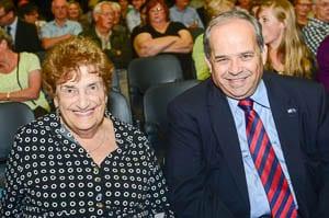 Survivor Ruth Filler with Ambassador Yosef Livne