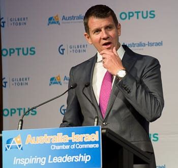 Premier Mike Baird at the AICC lunch Photo: Henry Benjamin/J-Wire