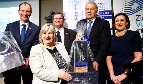 David Southwick MP and Marsha Thomson MP receiving the Jerusalem Prize in the presence of His Excellency, Israeli Ambassador, Shmuel Ben-Shmuel, ZFA's President, Dr Danny Lamm, and Zionism Victoria's President, Sharene Hambur. Photo: Peter Haskin