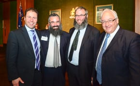 Liberal MP Josh Frydenberg, Rabbi Dovid Slavin, Rabbi Mendel Kastel and Labor MP Michael Danby