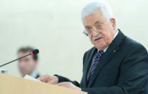 Palestinian Authority President Mahmoud Abbas addresses a meeting of the United Nations Human Rights Council in Geneva, Switzerland, in October 2015. Credit: UN Photo/Jean-Marc Ferré.