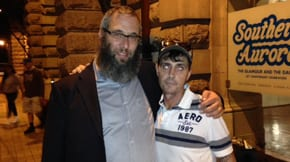 Rabbi Mendel Kastel and Shane prepare to leave Central