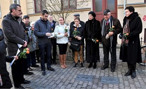 Michael Danby and family at the installation of stolperstein for Bruno and Margarethe Danziger at 31 Ludwigstrasse in Rostock