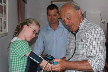 Dr Mike Freelander tends a young patient