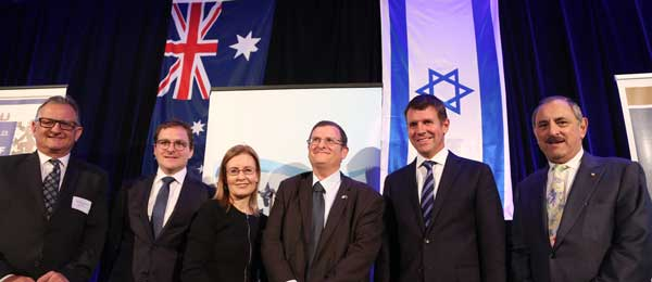 ZCNSW president Richard Balkin, NSWJBD president Jeremy Spinak, NSW Attorney-General Gabrielle Upton, Israeli ambassador Shmuel Ben-Shmuel, Premier Mike Baird, The Executive Council of Australian Jewry president Robert Goot Photo: Giselle Haber