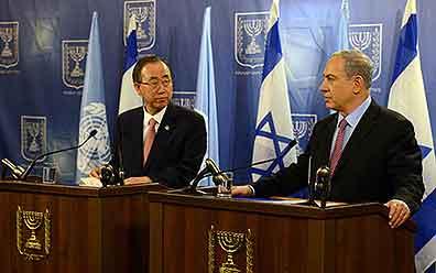 US Secretary-General Ban Ki-moon meets Prime Minister Benjamin Netanyahu Pic: GPO