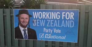 Defaced poster in New Lynn, Auckland