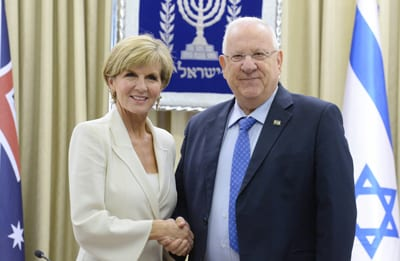 Australia's Foreign Minister Julie Bishop meets Israel's President even Rivlin