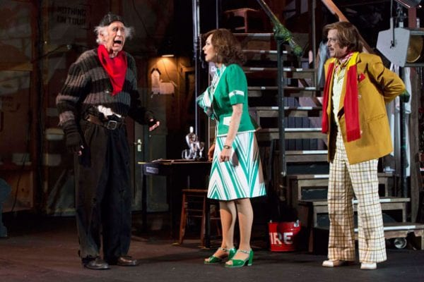 Ron Haddrick, Tracy Mann, Alan Dukes in Sydney Theatre Company's Noises Off       Photo: Brett Boardman