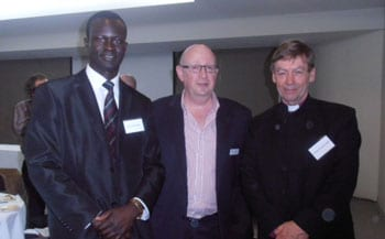 Reverend Daniel Nyieth, David Marlow and The Right Reverend Philip Huggins, Bishop of the Northern & Western Region.