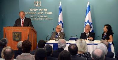 Benjamin Netanyahu, David de Rothschild, Ronald S. Lauder, Chella Safra (credit: Haim Zach/GPO)