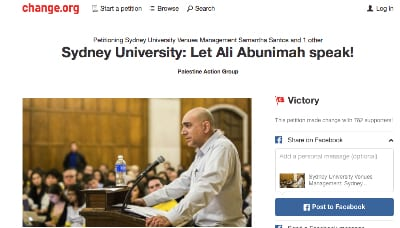 Petition · Sydney University Venues Management: Sydney University: Let Ali Abunimah speak! · Change.org 2016-03-23 12-54-46