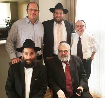 Back: Rabbi Paul Lewin, Rabbi Eli Feldman and Rabbi Chaim Ingram   Front: Rabbi Elic Cohen and IPP Rabbi Yehoram Ulman