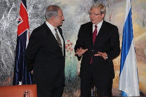 FM Kevin Rudd rt meets with Israeli Prime Minister Benjamin Netanyahu